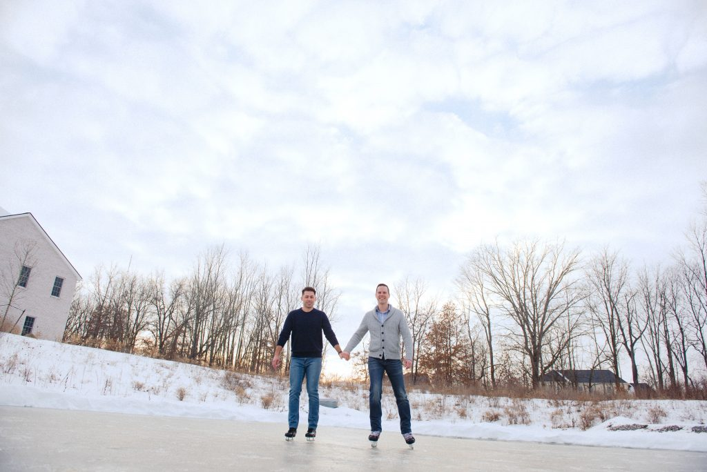 Ice skating engagement session in Ann Arbor, MI